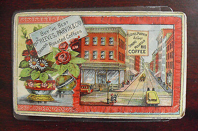 Vintage 1890s VTC Reeves Parvin & Co Roasted Coffee Town Scene Card