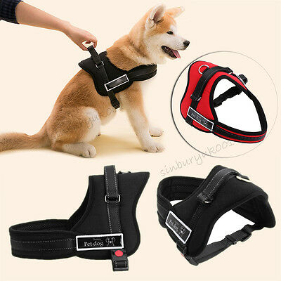 Heavy Duty Husky Soft Padded Non Pull Dog Harness Chest Vest Adjustable S M L XL