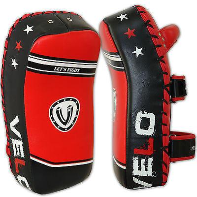VELO Curved Leather Arm Pad Thai Kick Boxing Strike MMA Focus Muay Punch Shield