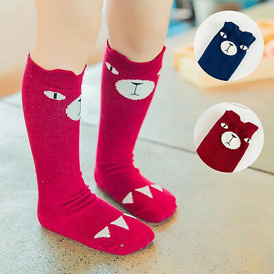 Baby Kids Girls Cute Bear Pattern Knee High Socks Tights Leg Warmer Stockings