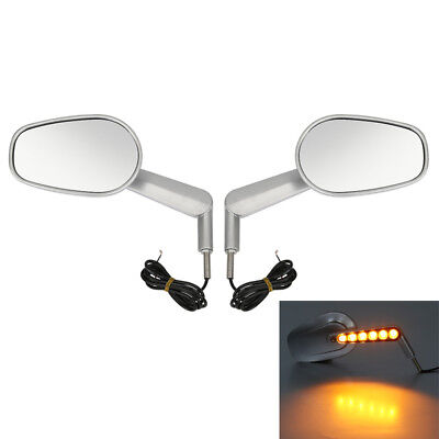 Silver Muscle Rear View Mirrors + LED Front Turn Signals For Harley V ROD VRSCF