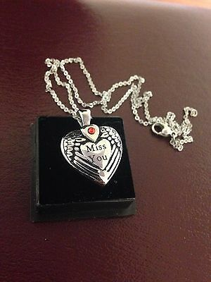 "Memorial Cremation Jewellery/Pendant/Urn/Keepsake for Ashes- ""Miss You""  Heart"