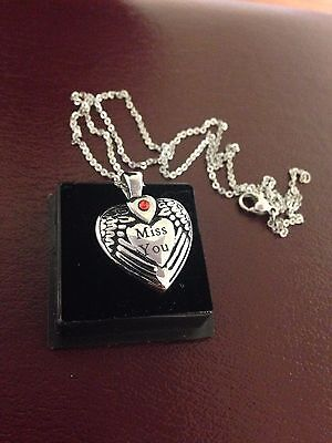 """Memorial Cremation Jewellery/Pendant/Urn/Keepsake for Ashes- """"Miss You""""  Heart"""