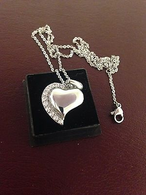 "Memorial Cremation Jewellery/Pendant/Urn/Keepsake for Ashes-""Diamond (cz) Heart"""