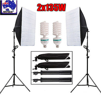 Photography Studio Soft Box Softbox Continuous Lighting Light Stand Kit Set NEW