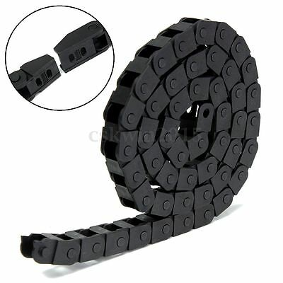 "1M 1000mm 40"" Black Long Nylon Cable Drag Chain Wire Carrier R10 10mm x 10mm"