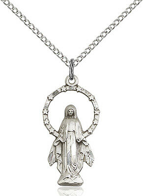 925 Sterling Silver Our Lady Grace Miraculous Virgin Mary Medal Necklace Pendant
