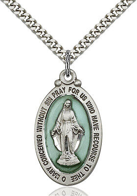 Men's Sterling Silver Our Lady Grace Miraculous Virgin Mary Medal Necklace