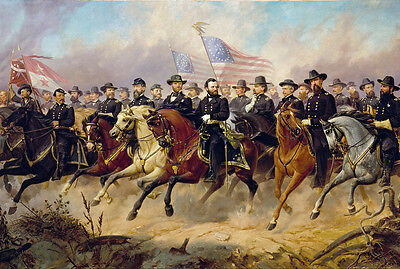 Grant and His Generals American US Civil War Painting Real Canvas Art Print New