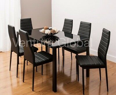Glass Dining Table Set with 4 Or 6 Faux Leather Rib Chairs White Or Black