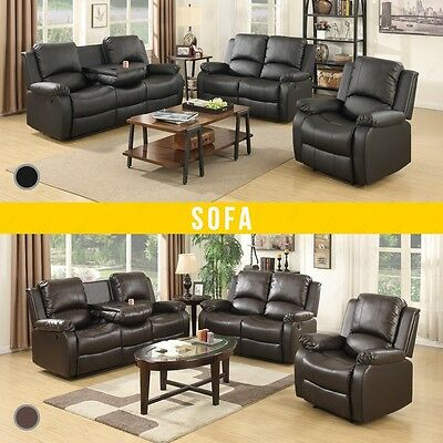Elegant New 3+2+1 Seater Leather Recliner Sofa Suite In Brown or Black