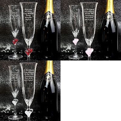 Personalised Glass Heart Stem Champagne Flutes 2 pack - Wedding - Free Delivery