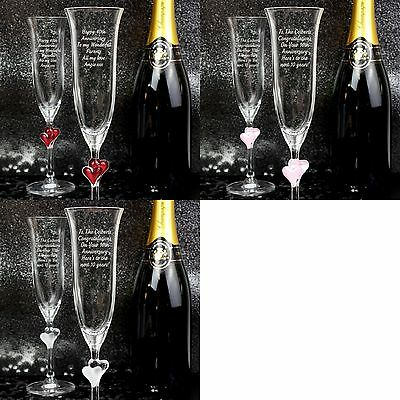 Personalised Glass Heart Stem Champagne Flutes Set of 2 - Wedding Gift