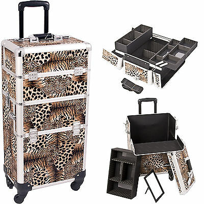 Professional 2n1 Aluminum Rolling Makeup Cosmetic Case Box Trolley Sunrise