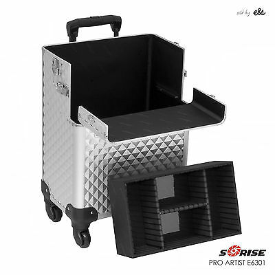 Professional 4-Wheel Aluminum Rolling Hair Stylist Makeup Organizer Case Trolley