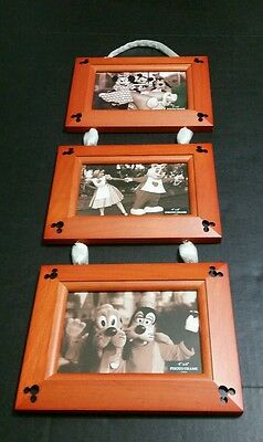 Disney Parks Three Wood Hanging Dangle Charm 4 X 6 Mickey Mouse Head Icon Frames