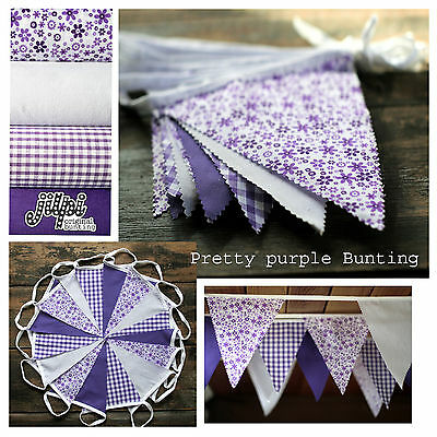 240ft (72m) JILPI 'PRETTY PURPLE' FLORAL GINGHAM FABRIC BUNTING, WEDDINGS!
