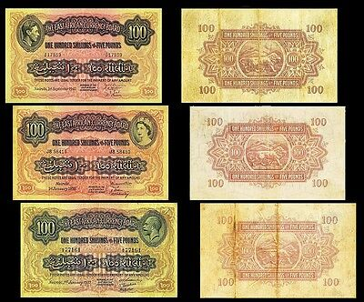!copy! 3 East Africa 100 Shillings £5 1933, 1943, 1955 Banknotes !not Real!