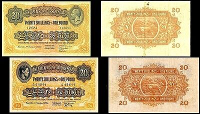 !copy! 2 East Africa 20 Shillings £1 1933, 1942 Banknotes !not Real!