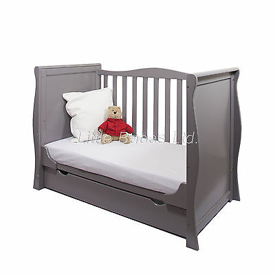 New Pine Wood Grey Sleigh Mini Cot Bed & Drawer +/- British Made Safety Mattress
