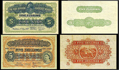!copy! 2 East Africa 5 Florins 1920, 1954 Banknotes !not Real!