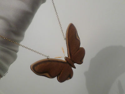 Vintage Unusual  Large Wooden Butterfly Pendant Necklace Long Chain