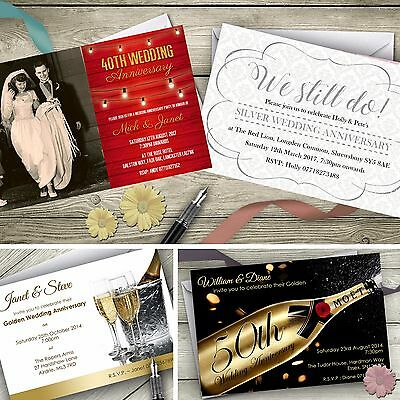 Personalised Wedding Anniversary Invitations Silver Gold Ruby Invites