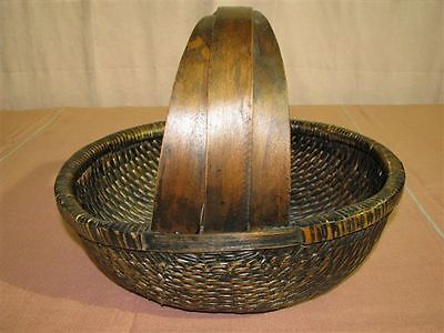 Antique/Vintage Triple-Handled Chinese Woven Basket Willow Wood w. Certificate