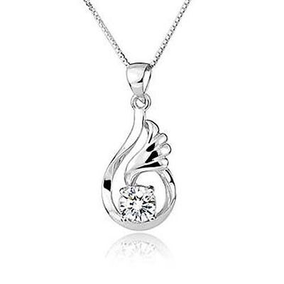 """S925 Sterling Silver Necklace 1CT Diamond wave Heart Love Gift her 18"""" ChainNL13"""