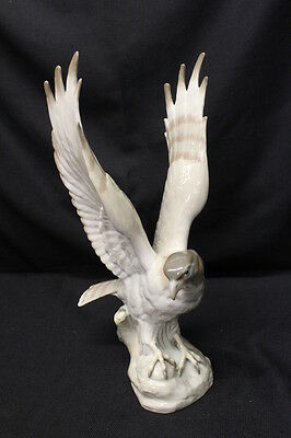 "Vintage Porcelain Banded Hawk or Falcon 16"" Bird Figurine, Made in Spain"