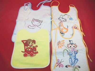 1K Set Of Vintage CLOTH Infant Feeding BIBS 4 Diff Circa 1950's CUTE!