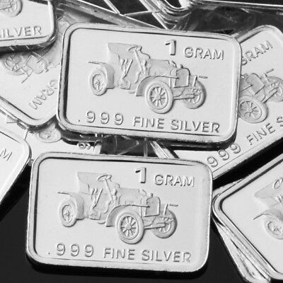 Lot 30 X 1 Gram .999  Fine Pure Silver Bar / Vintage Convertible Car / WPT214 oz