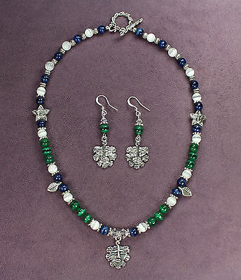 GREEN MAN WINTER NECKLACE EARRINGS SET Nature Spirit Tree Face Leaf Pagan Wicca