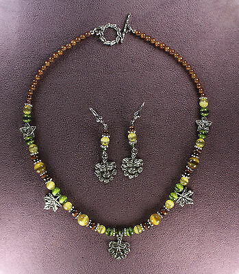 GREEN MAN AUTUMN NECKLACE EARRINGS SET Nature Spirit Tree Face Leaf Pagan Wicca