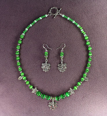 GREEN MAN SUMMER NECKLACE EARRINGS SET Nature Spirit Tree Face Leaf Pagan Wicca