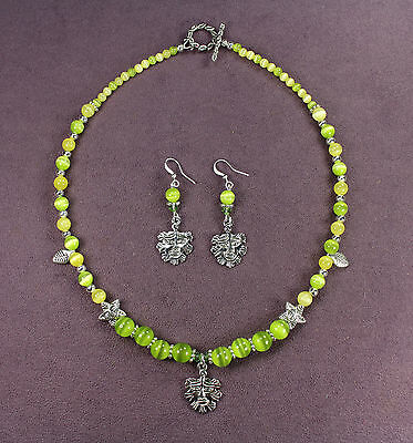 GREEN MAN SPRING NECKLACE EARRINGS SET Nature Spirit Tree Face Leaf Pagan Wicca
