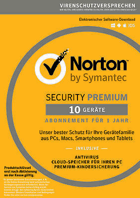Norton Security Premium 2019 | 10 PC / Geräte | DE Lizenz | mit 25 GB Backup