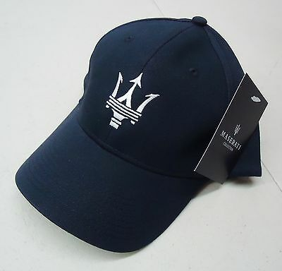 Maserati Authentic Navy W/ White Embroidery Trident Baseball Cap Hat # 2018311