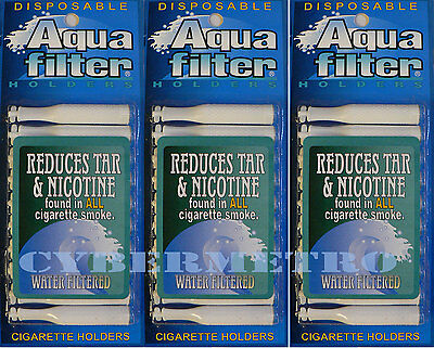 Aquafilter 3 PACK Disposable Cigarette Filters - 30 pcs - Aqua Filter SHIPS FREE
