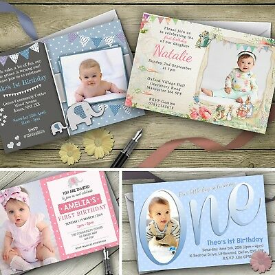 Personalised 1st Birthday Invitations First Party Invites  Boy / Girl / Photo