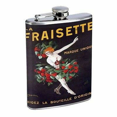 Italian Illustration Woman Wearing Strawberries D220 Flask 8oz Stainless Steel