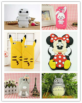Cartoon Animal Silicone Rubber Gel Shockproof Case Cover Skin For iPhone Samsung