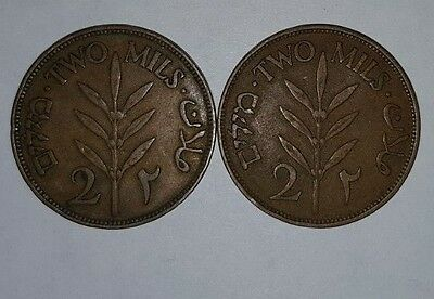 Palestine 2 Mils Coins 1927. Lot Of 2 Coins Untoched Uncleaned