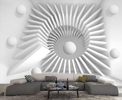 papier peint intisse trompe l 39 oeil photo murale relief 3d blanc escalier eur 7 99 picclick fr. Black Bedroom Furniture Sets. Home Design Ideas