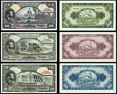 !copy! 3 Ethiopia 1945 Banknotes: 50, 100, 500 Dollars !not Real!