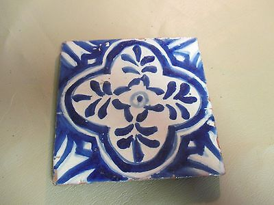"Vintage Mexico Tile-4"" Square-Cobalt Blue & White-Puebla 1967-OLD Terracotta"