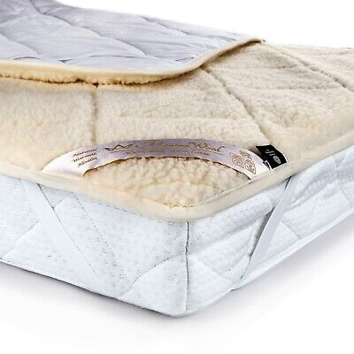 100% WOOL UNDER BLANKET 100% COTTON Medical 450gsm Mattress Topper ALL SIZES