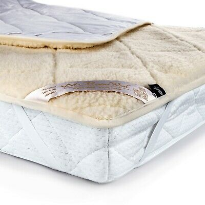 Merino 100% WOOL UNDER BLANKET 100% COTTON Medical Mattress Topper ALL SIZES