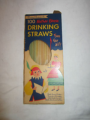 Vintage Sweetheart Mother Goose Paper Drinking Straws Boxed Maryland Paper Prod