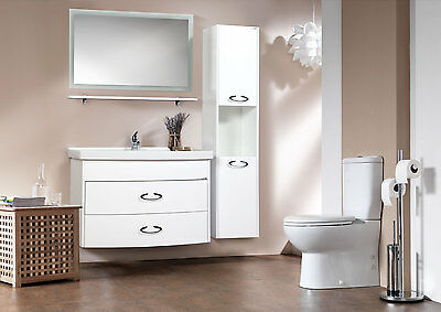 Bathroom Furniture Led Mirror wall Hung  Low Cabinet Cupboard 100cm Sink Set